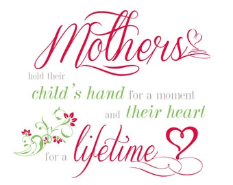 SVG Mothers hold their child's hand for a moment Cuttable File - for use with silhouette cameo, cricut, Sizzix, other machines
