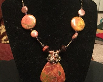 Red picture jasper with crystal and copper necklace.