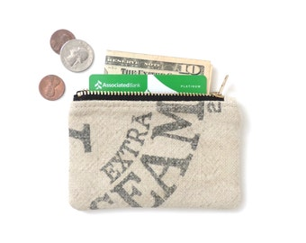 Wallet Coin Purse Zipper Pouch Recycled Grain Sack