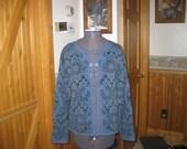 Vtg Norwegian  Vrikke  Sweater Designed by Irene Haugland Zahl  Nordic Blue Pewter Clasp free ship Small