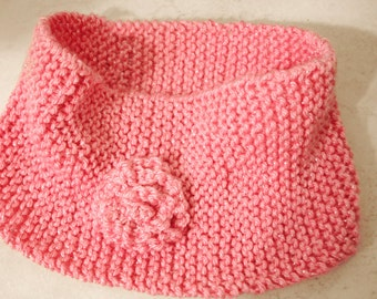 Knitted Head Band - Wide Head Warmer - Winter Head Band Ear Warmer Cover - Ear Muffs - Sparkly Pink Soft Yarn With Rosette