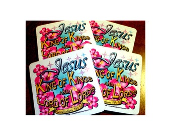 """Christian Drink Coasters """"Jesus King of Kings and Lord of Lords - Revelation 19:16"""" - 4 Pack Dye Sublimation"""