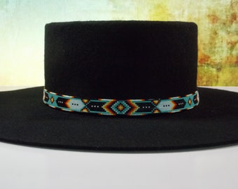 Native American Beaded Hat Band In A Cherokee Chevron And Feathers Pattern With The Traditional Colors Of Turquoise And Fire by LJ Greywolf