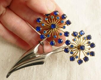large Vintage brooch 1950s flower brooch blue paste stones