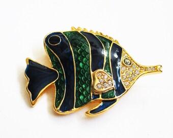 Tropical Fish Brooch Cloisonne Pin Green Blue Enamel Rhinestones Vintage Brooch Sealife Lapel Pin Jewelry Gift Cloisonne  Fish Brooch