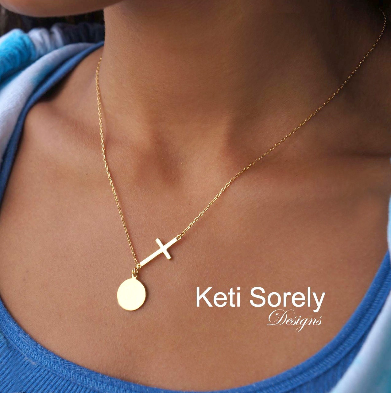 Engravable Small Sideways Cross Necklace W Small Round Disc