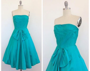 50s Green Strapless Party Dress / 1950s Vintage Bow Prom Dress / Medium / Size 6
