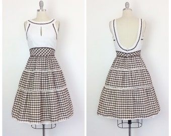 60s Brown & White Gingham Dress / 1960s Vintage Cotton Day Dress / Small / Size 4