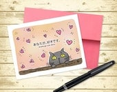 Love you Japanese Black Cat Greeting Card (5.5x4.25 size)