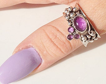 Sterling Silver Amethyst Grape Cluster Ring  - Size 9