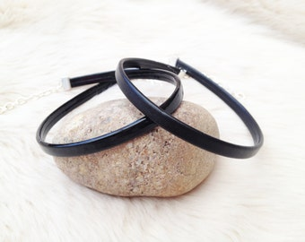 Black plain recycled leather choker with silver plated links. Matte black / patent glossy black slimline UK choker.