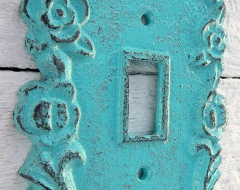 Cast Iron Switch Plate Single Light Plate Turquoise Shabby Chic Home Decor