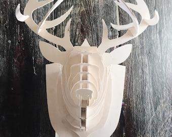 Faux Taxidermy Wooden Deer Head