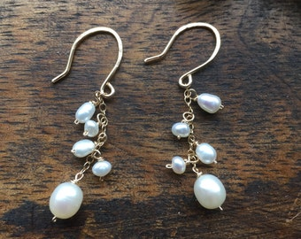 Bridal earrings pearl with gold or sterling silver chain, cluster earrings