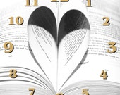 Personalised Wall Clock  Heart Book  Name  Style 1