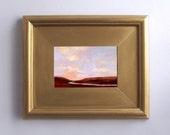 River landscape small original painting 4x6 art, valley, framed art, lavender, dark red ,pink, blue, sunset picture, big sky, scenic