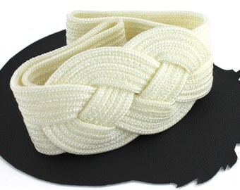Ivory Braided Knot Vintage Belt Womens Size Small