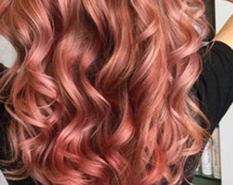Clip in virgin Human Hair Extensions 1b (Natural black and Rose Gold Ombre