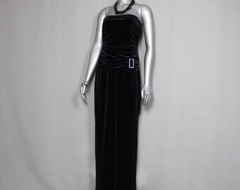 Black Velvet Strapless Tube Top Angelina Leg Formal Dress Proms/Parties 2017