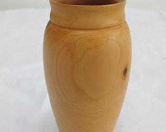 Vintage 1980's Rustic Turned Yew Wood Treen Vase - Artist Signed - Noel Mergler