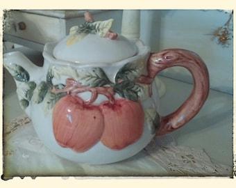 Vintage CBK Ltd. Apple Teapot, Decorative Teapot, Ceramic Teapot, Estate Sale Find...1991....hand painted...China