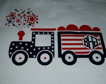 Toddlers Little steam train exploding fireworks 4th of July shirt