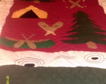Vintage Cotton Twin Applique Quilt with Camping Theme, Twin Bedding, Cabin Quilt, Cabin Decor, Boys Twin Quilt, Cotton Twin Quilt