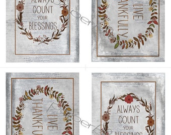 """Thanksgiving """"always count blessings & live thankfully - DIY Instant Printable Download - #4 postcards"""
