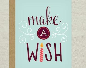 Make a Wish Birthday Greeting Card, Handdrawn, Happy Birthday, Birthday Wish, Candle,