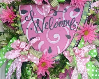 Watermelon Mesh Spring and Summer Wreath