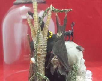 Witch CROW CLOCHE With Taxidermy BAT Display-pagan, witchcraft, voodoo, magic-gothic, goth