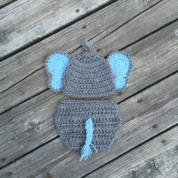 Newborn Elephant Outfit Hat Diaper Cover Crochet Baby Elephant