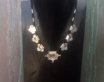 RESERVED FOR TOASDESERT Tribal Taureg sterling and glass bead choker necklace