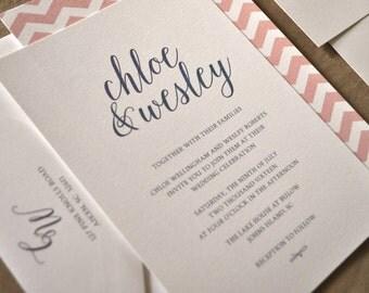 Modern Classic Wedding Invitation, Chevron Invitation, Calligraphy - Wedding Invitation Deposit