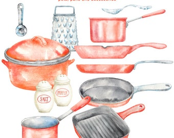 Watercolor Red Kitchen Cliparts - cooking digital watercolor clipart, 300dpi PNG