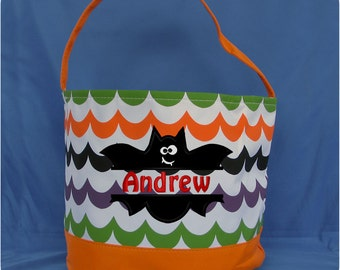 Wavy Embroidered Halloween Bucket - Monogrammed Trick or Treat Candy Bag - Personalized Halloween Candy Bucket - Pumpkin