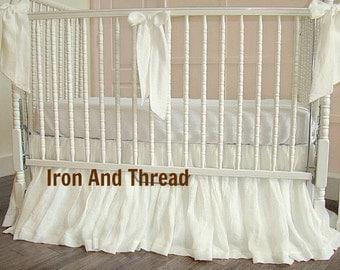 White or Ivory Linen Skirt and 3 Bows. Bumperless Linen Crib Skirt. Baby Bedding. 3 Linen Decorative Bows.