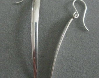 Modern Long Silver Fork Earrings