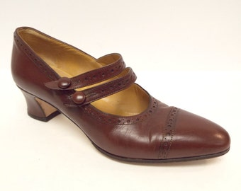 Vintage Size 7 COLE HAAN Double Strap Mary Jane Heels Pumps Shoes from Italy