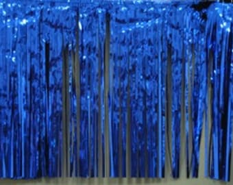 "Metallic royal blue Fringed table skirt Party decor 29"" x 14 ft"