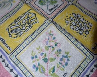 Swedish - Coffee Table Cloth - Summer - Herbs - Folk Song Lyric - Linen - 50s - Mid Century -