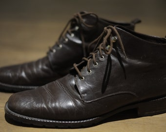 Vintage Genuine Leather Brown Lace Up Ankle Boots