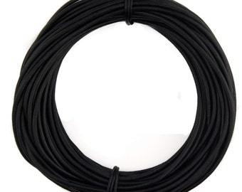 Black Natural Dye Round Leather Cord 3mm, 25 meters (27.34 yards)