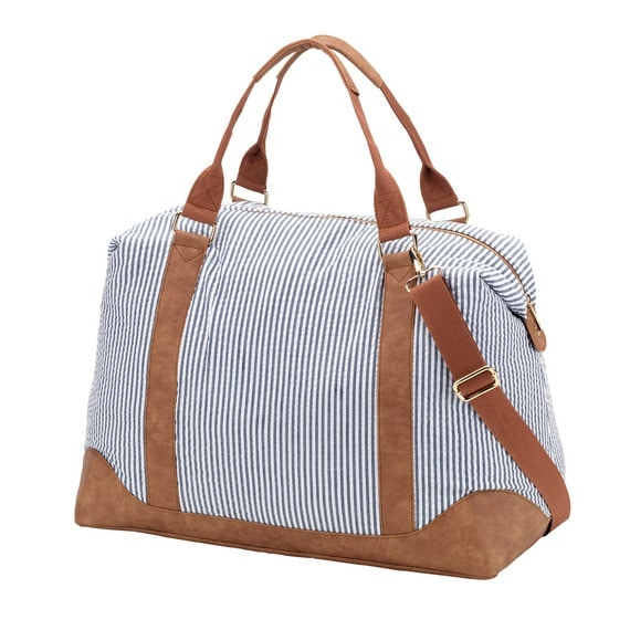 Seersucker Weekender bag luggage tote bag weekender bag monogram weekender bag duffel bag monogram bag womens luggage