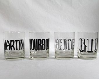 Gin, Scotch, Martini and Bourbon Rocks Glass Set/4