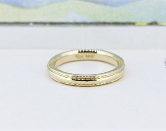 Classic Wedding Ring | 14k Yellow Gold Band | Gold Wedding Band | 2.8 MM Wedding Ring | Milgrain Band | Thin Gold Stacking Ring | Size 5.5