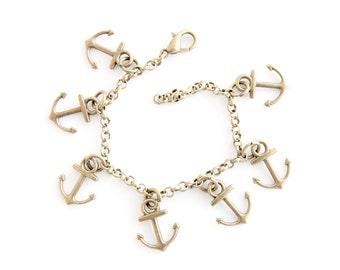 Anchor charm bracelet pendant summer bronze gift for her