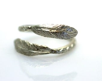 Feather Ring Blue Patina Verdigris Brass Feather Adjustable