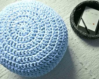 Light Blue Crochet Pouf-Knit Ottoman-Nursery Footstool-Crochet Round Pouf-Kids Pouf-Floor Cushions-Knit Pouf Ottoman-Floor Pouf-Floor Pillow