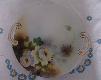 Circa 1915 or After Two Handled Serving Piece White Full Bloom Roses Yellow/Brown Centers Leaves Green Brown Gray Gold Trim Handles